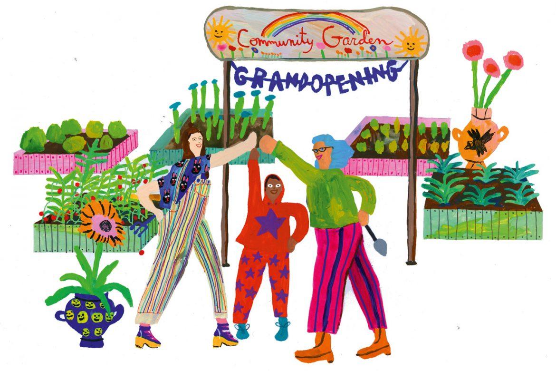 Soziales Engagement ehrenamtlich Arbeiten Tara Booth Illustration Gartenarbeit