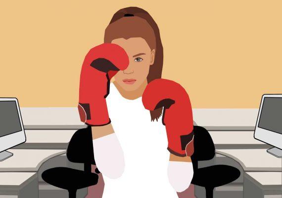 Hochboxen-Job-Beförderung-Karriere-Boxen-Boyhandschuhe-Büro-Illustration-Paygap