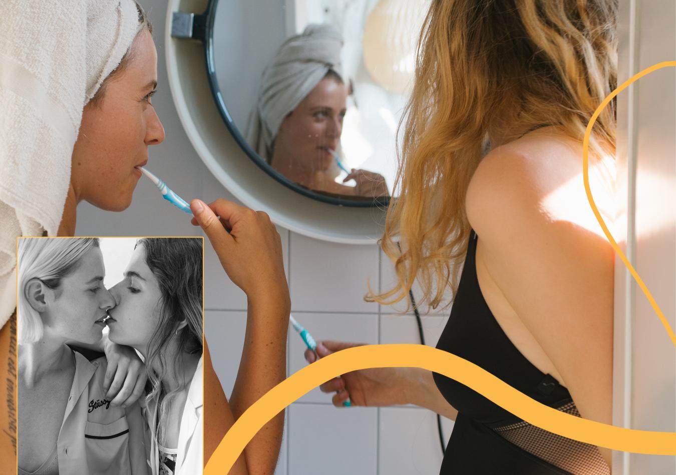 Sloggi-Unterwaesche-Lingerie-Body-Spitze-Frauen-Badezimmer-Spiegel